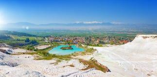 Panoramic view of Pamukkale, Turkey Stock Photography