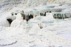 Pamukkale basins. Natural Pamukkale basins full of water Stock Photos