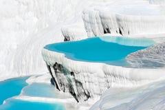 Pamukkale basins. Turquoise water travertine pools at pamukkale Stock Images