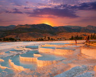 Pamukkale. Beautiful sunrise and Natural travertine pools and terraces, Pamukkale, Turkey