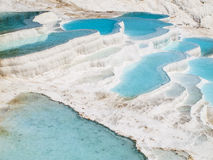 Pamukkale blue water pools. Of white limestone Royalty Free Stock Photo