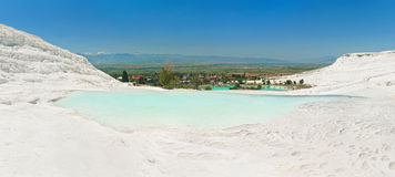 Pamukkale city and terraces panorama Stock Image