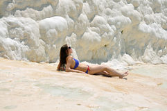Pamukkale girl Stock Photos