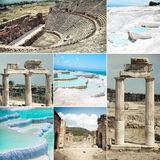 Pamukkale and Hierapolis ruins Royalty Free Stock Images