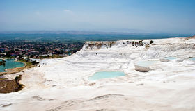 Pamukkale landscape, Turkey. Pamukkale, meaning cotton castle in Turkish, is a natural site in Denizli Province in southwestern Turkey. It contains hot springs Royalty Free Stock Image