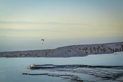 Pamukkale Minerals Paragliding, Pamukkale, Turkey Royalty Free Stock Images