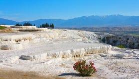 Pamukkale mountain, Turkey. Dry Pamukkale mountain due to extensive water usage, Turkey Royalty Free Stock Photo