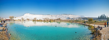 Pamukkale natural park lake. This is natural park with beautiful lake and wide panoramic view on Pamukkale white mountain, which is very popular touristic Royalty Free Stock Photography