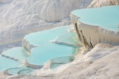 Pamukkale, natural pool with blue water, Turkey royalty free stock image
