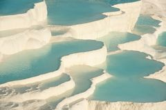 Pamukkale, natural pool with blue water, Turkey royalty free stock images