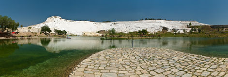 Pamukkale Panorama. World Heritage Site of Hierapolis-Pamukkale (Turkey), with the natural terraces of sedimentary carbonate minerals left by the flowing water Royalty Free Stock Photos