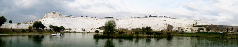 Pamukkale panorama. Panorama of Pamukkale, the cotton castle of Turkey Stock Photography