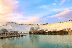 Pamukkale from park during sunset Royalty Free Stock Photos