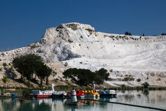 Pamukkale. See Pamukkale from the park Stock Photography
