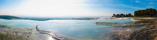 Pamukkale terraces panorama. Pamukkale panorama of pools and terraces in Denizli province of Turkey Royalty Free Stock Image