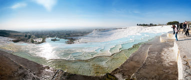 Pamukkale terraces panorama. Pamukkale are natural site in Denizli province in southwestern Turkey. Pamukkale terraces are made of travertines, calcium carbonate Stock Photos