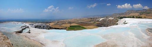 Pamukkale terraces panorama Royalty Free Stock Photography
