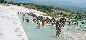 Pamukkale tourists Stock Photo