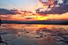 Pamukkale travertene sunset. Pamukkale travertene denizli Stock Photo