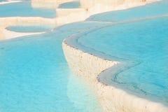 Pamukkale travertine pools. Natural travertine pools and terraces, Pamukkale, Turkey Stock Images