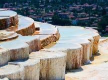 Pamukkale travertines. Natural travertine pools and terraces, Pamukkale, Turkey Royalty Free Stock Images