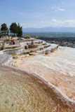 Pamukkale Travertines natural travertne pool. Stock Photos