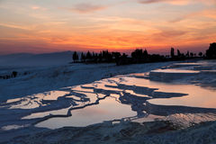Pamukkale Travertines at Sunset. Turkey stock photo