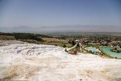 Pamukkale, Turcja Trawertynów tarasy na zboczu Fotografia Royalty Free