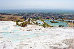Pamukkale, Turkey. Pamukkale is Turkey's foremost mineral-bath spa because of its natural beauty: hot calcium-laden waters spring from the earth and cascade over Stock Photo