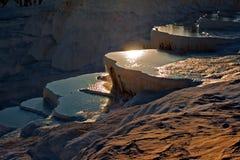 Pamukkale Turkey 6. Travetine covered hills and rock pools of Pamukkale Turkey Stock Photo
