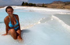 Pamukkale, Turkey. Young attractive female model in front of Pamukkale, Turkey stock photography