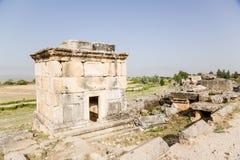 Pamukkale, Turkey. Antique crypt in the necropolis of Hierapolis Stock Photos