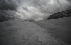Pamukkale, Turkey with calcite landscape, black and white Stock Image
