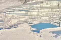 Landscape with famous terraces of Pamukkale, landmark attraction in Turkey Stock Photo