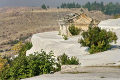 Landscape with famous terraces and ruins of Hierapolis city - Landmark attraction in Pamukkale, Turkey Royalty Free Stock Photos