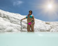 Girl posing near the thermal springs and travertines of Pamukkale stock images