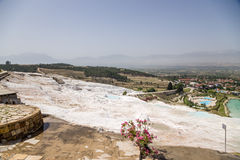 Pamukkale, Turkey. Landscape with travertine terraces covering the mountainside Royalty Free Stock Photos