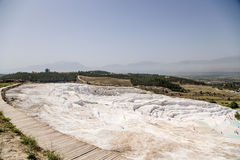 Pamukkale, Turkey. Mountainside with travertine terraces Royalty Free Stock Photography