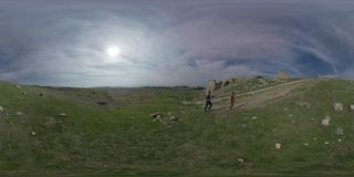360 VR Several tourists in Hierapolis, ancient city in Turkey stock video footage