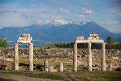 Pamukkale, Turkey. Ruins of ancient Hierapolis, Pamukkale, Turkey royalty free stock photos