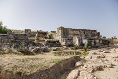 Pamukkale, Turkey. Ruins in the archaeological zone of the necropolis of Hierapolis Royalty Free Stock Image