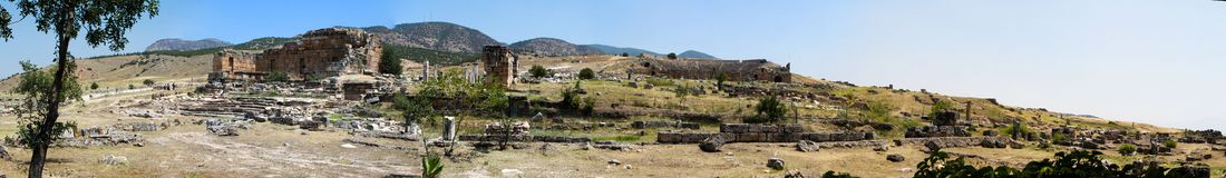 Pamukkale. Turkey. Ruins of Hierapolis, ancient city Stock Photography