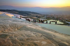 Landmark attraction - Sunset landscape with famous terraces of Pamukkale, Turkey Stock Photo