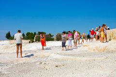 Pamukkale, Turkey, tourists Royalty Free Stock Images
