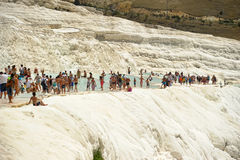 Pamukkale, Turkey, tourists Stock Photos