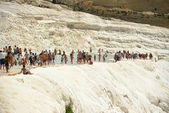 Pamukkale, Turkey, tourists Stock Photos