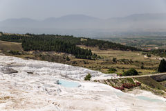 Pamukkale, Turkey. Travertine terraces, covering the mountainside Stock Photo