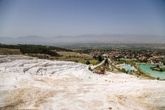 Pamukkale, Turkey. Travertine terraces on the hillside Royalty Free Stock Photography