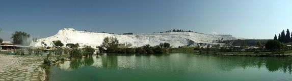 Pamukkale in Turkeyy. Pamukkale in TurkeynThe famous travertine and a thermal pool in Pamukkale, Turkeyn Stock Images