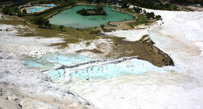 Pamukkale. A unique natural phenomenon. Snowy mountain in Turkey. Famous tourist attraction is under UNESCO protection Stock Photos